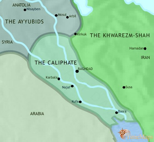 Map of Iraq at 1215AD