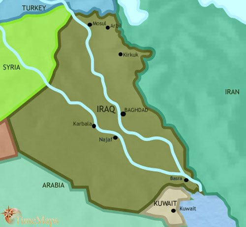 Map of Iraq at 2005AD