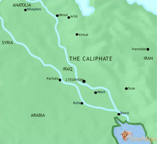 Map of Iraq at 750AD