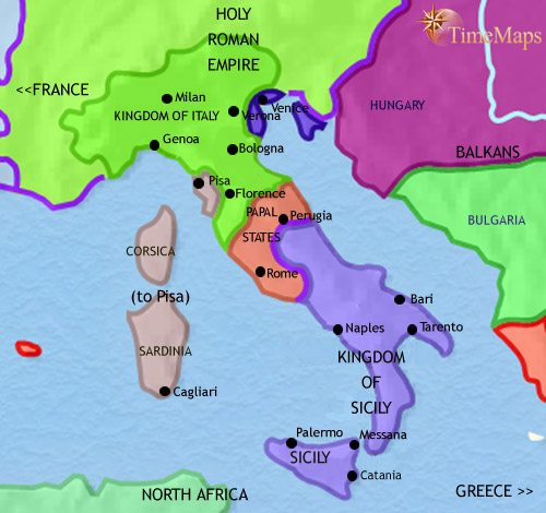 Map of Italy at 1215AD