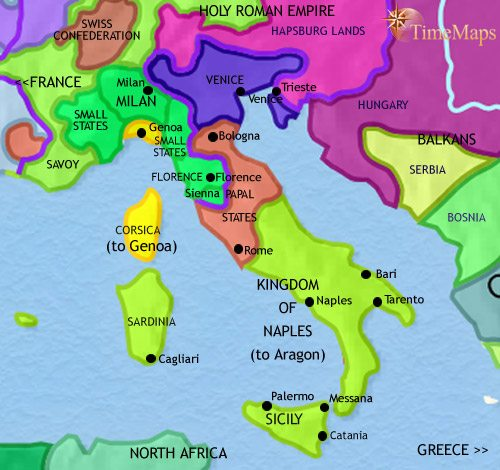 Map of Italy at 1453CE