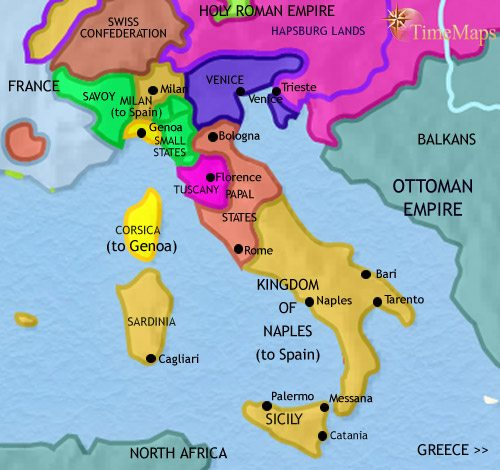 Map of Italy at 1648AD