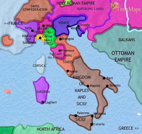 Map of Italy at 1789AD