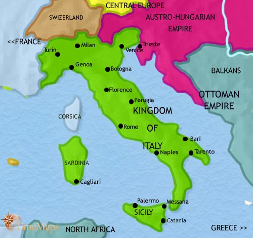 Map of Italy at 1871AD