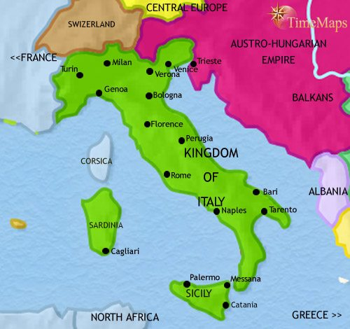 Map of Italy at 1914AD