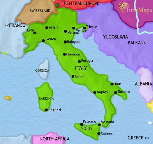 Map of Italy at 1960AD