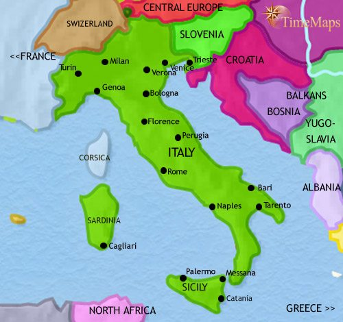 Map of Italy at 2005CE