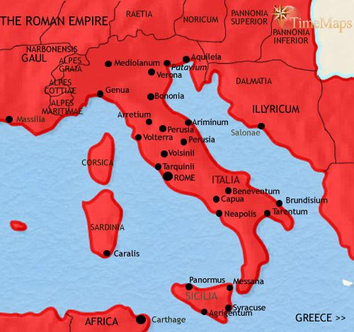 Map of Italy at 200AD