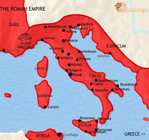 Map of Italy at 30BC