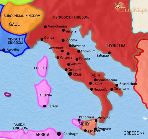 Map of Italy at 500AD