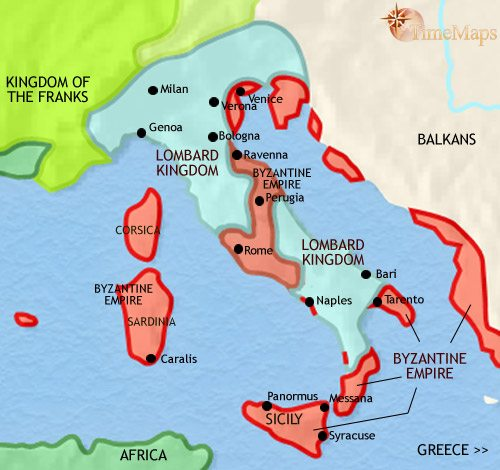 Map of Italy at 750AD