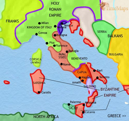 Map of Italy at 979AD