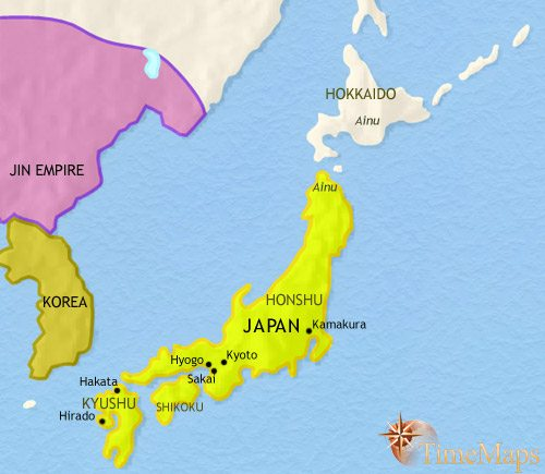 Map of Japan at 1215CE