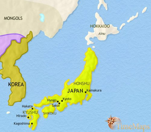 Map of Japan at 1453CE