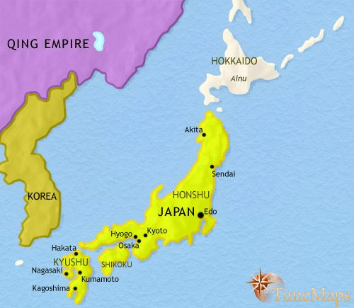Map of Japan at 1648CE