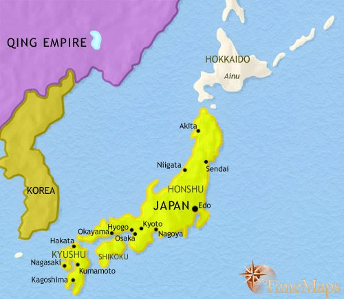 Map of Japan at 1789CE