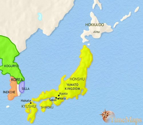 Map of Japan at 500CE
