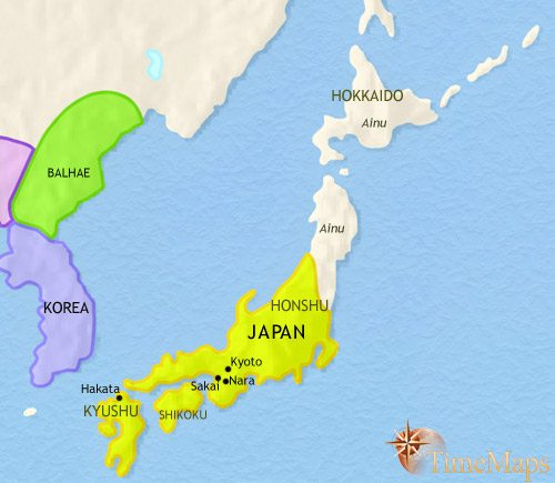 Map of Japan at 750CE
