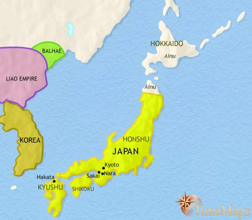 Map of Japan at 979CE