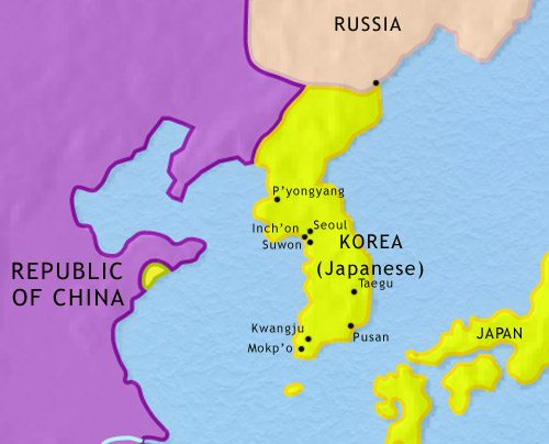Map of Korea at 1914CE