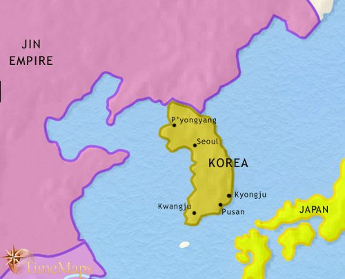 Map of Korea at 1215CE