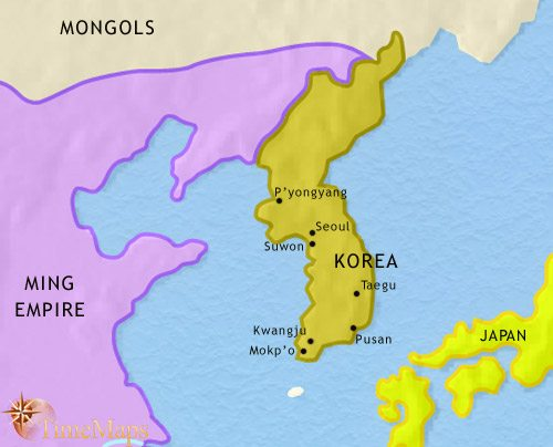 Map of Korea at 1453CE