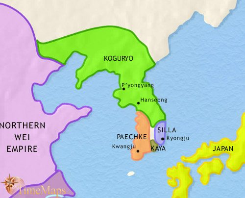 Map of Korea at 500CE