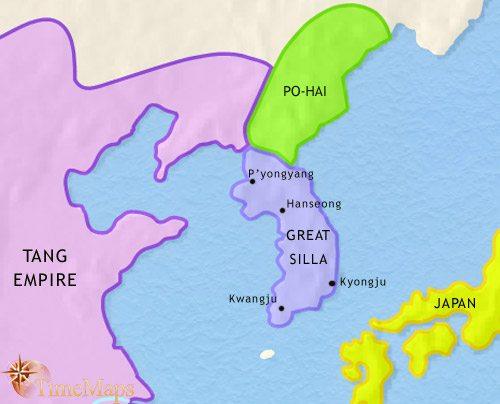 Map of Korea at 750CE