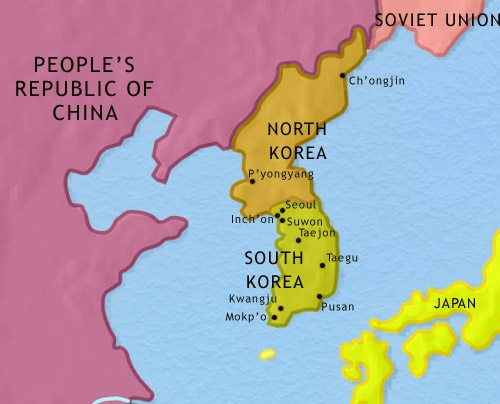 Map of Korea at 1960CE