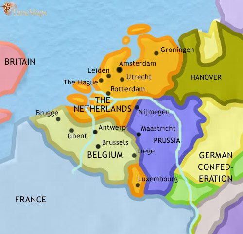 Map of The Low Countries at 1837AD