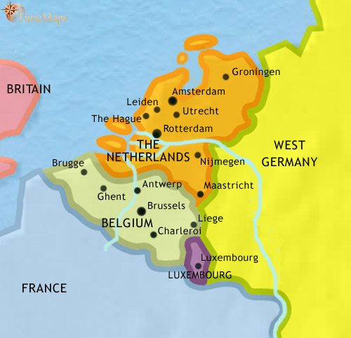 Map of The Low Countries at 1960AD