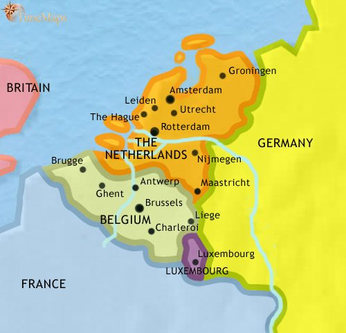 Map of The Low Countries at 2005AD