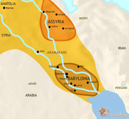 Map of Iraq at 1000BC
