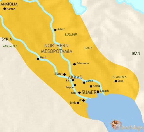Map of Iraq at 2500BC