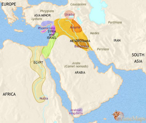 Map of Middle East at 1000BCE