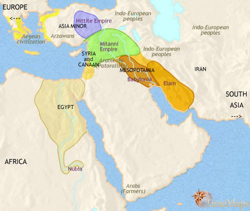 Map of Middle East at 1500BCE