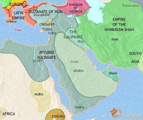 Map of Middle East at 1215CE