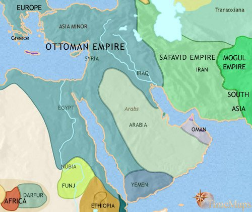 Map of Middle East at 1648CE