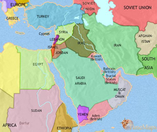 Map of Middle East at 1960CE