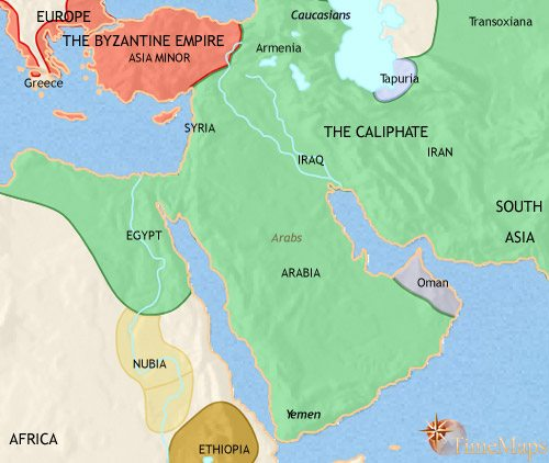 Map of Middle East at 750CE