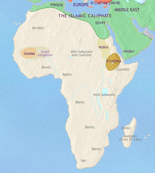 Map of Africa at 750AD