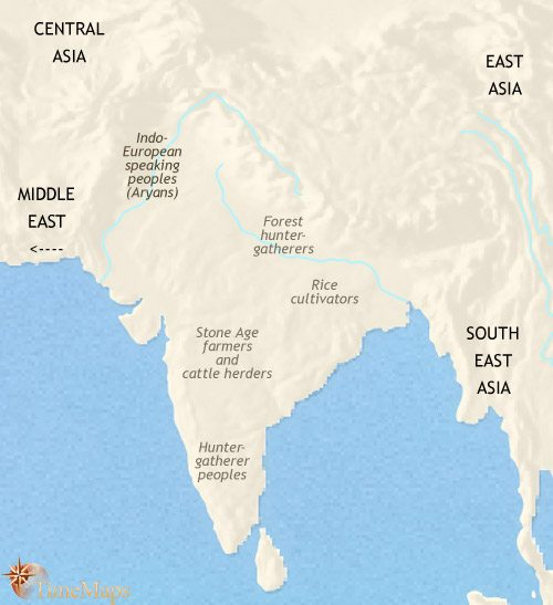 Map of India and South Asia at 1500BCE