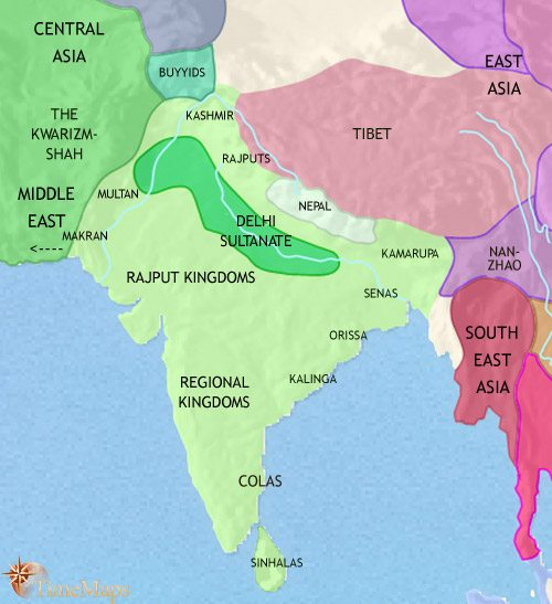 Map of India and South Asia at 1215CE