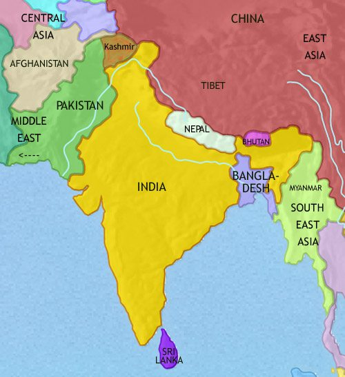 Map of India and South Asia at 2005CE