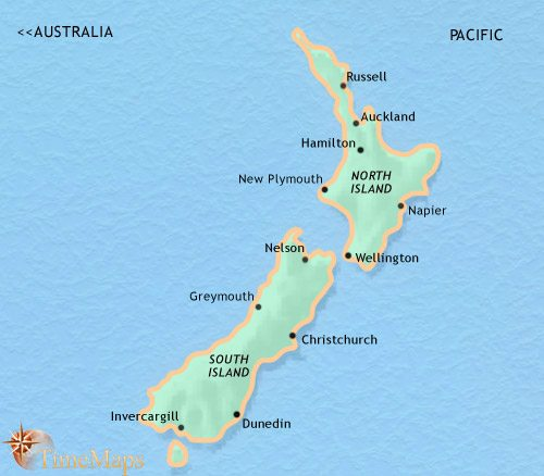 Map of New Zealand at 2005CE