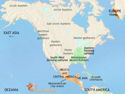Map of North America at 1215CE
