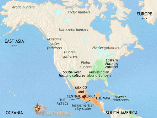 Map of North America at 1453CE