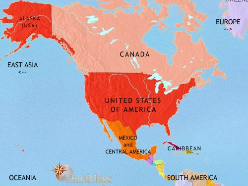 Map Of North America At AD TimeMaps - Usa canada mexico map