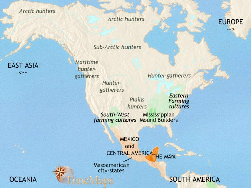Map of North America at 750CE