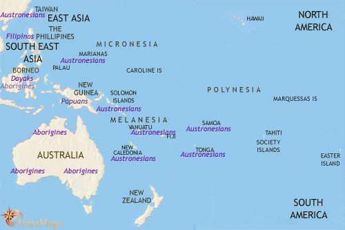 Map of Oceania at 1000BCE